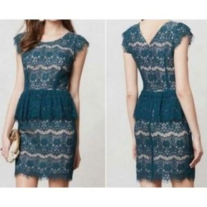 Maeve Anthropologie Green Lace Dress